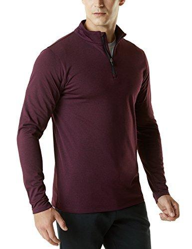 Zip Thermal 1/4 (Tesla TM-YKZ01-WNE_X-Large Men's Winterwear Sporty Slim Fit 1/4 Zip Fleece Lining Sweatshirt YKZ01)