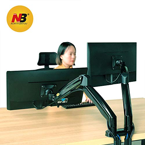 NB North Bayou Dual Monitor Desk Mount Stand Full Motion Swivel Computer Monitor Arm Gas Spring fits 2 Screens up to 32'' 19.8lbs Each Monitor (Black)