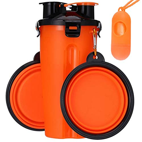 ROMIX Dog Water Bottle and Food Container for Walking 2 in 1 with 2 Collapsible Dog Bowls, Portable Leak Proof Water Cup Bowl with Big Trough Large Size, Pack with Pet Waste Dispenser Bags (Orange)