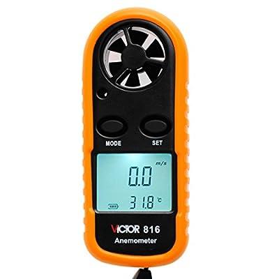 VICTOR VC816 Mini Digital Anemometer Wind Speed Pocket Air Wind Speed Scale Gauge Meter LCD Temperature Test Orange
