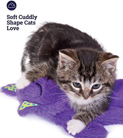 Petstages Purr Pillow Cat Toy For Nightime Play & Calm Comfort Featuring Soothing Noisemaker, Soft Plush Material, Medium, Purple 7