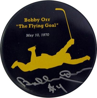 Bobby Orr Autographed 40th Anniversary puck - Autographed NHL Pucks