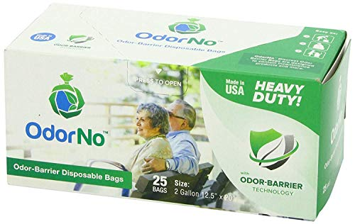 OdorNo ADU-2-4025 Odor-Barrier Disposable Bags; Perfect for Incontinence Products, Baby Diapers, Pet Waste, Garbage, Industrial Trash and Other Unpleasant Smells; 2 Gallons Capacity; Pack of 25 -