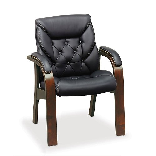 Black Faux Leather Guest Chair with Mahogany Wood Finish, NBF Signature Series Kingston -