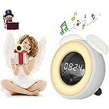 Christmas Gift For Family - Alarm Clock for Kids - LED Foladion Smart Night Light Bedside Alarm Clocks with Timer PIR Sensor and Adjustable Brightness, USB Rechargeable Modern Travel Clocks