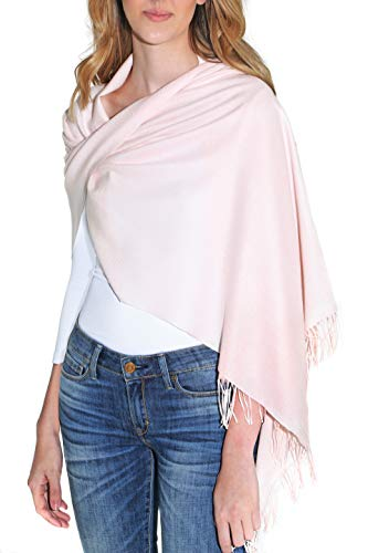 Silk And Cashmere - Pure Cashmere Blend Pashmina Wrap for Women - Fashion Shawl with Fringe (28 x 74 inches)