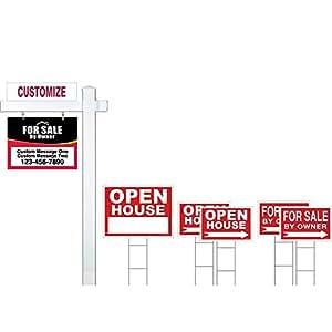 Deluxe Real Estate para venta por propietario (fsbo) señal Kit (rojo/negro), (1) Real Estate Post con señal, (1) fsbo cartel colgante (1) casa abierta signo (4) señales direccionales, (1) Rider
