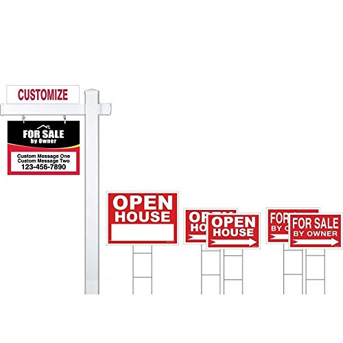- Red Deluxe 7-Pack for Sale by Owner Sign Bundle with Real Estate Post & Stakes - Open House & FSBO with Directional Arrows - Personalized Rider Sign for Yard Post - Double-Sided Lawn Signs