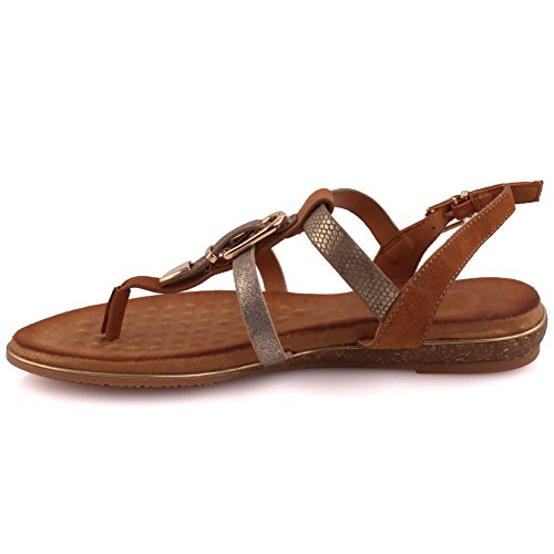 Unze Women Nudistrong Toe Loop Carnival Buckle Detail Soiree Pom Pom Casual Designed Ankle Strap Ladies Back Zip Sandals UK Size 3-8 Camel WTz875