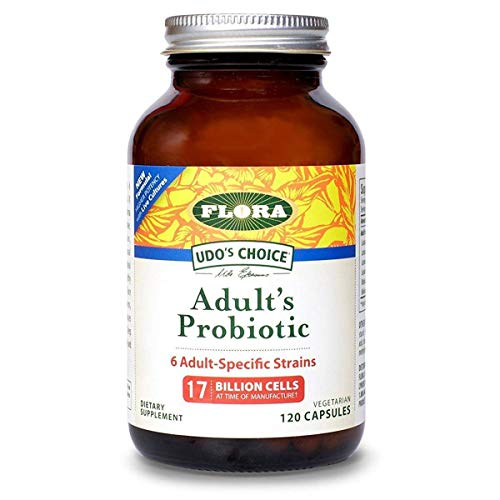 Probiotic Blend - Flora Adult Blend Probiotic Capsules 120Count - 17 Billion CFU - Vegetarian, Gluten Free - for Adults Age 19-54 (UDO's Choice)