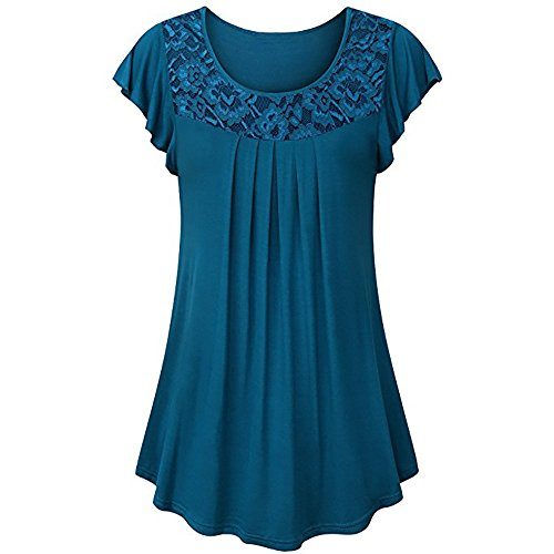 - Ruched Blouse Women Ladies Solid Lace Patchwork Short Sleeve Tops Shirt Blue