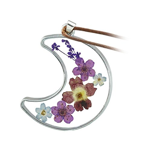 FM FM42 Multicolor Pressed Dried Flowers Moon Shape Pendant Necklace - Flower Resin Necklace