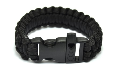 Generic Extra Beefy / Wide 300 lb Paracord Survival Bracelet With Whistle Buckle / Stainless Metal Bow Shackle