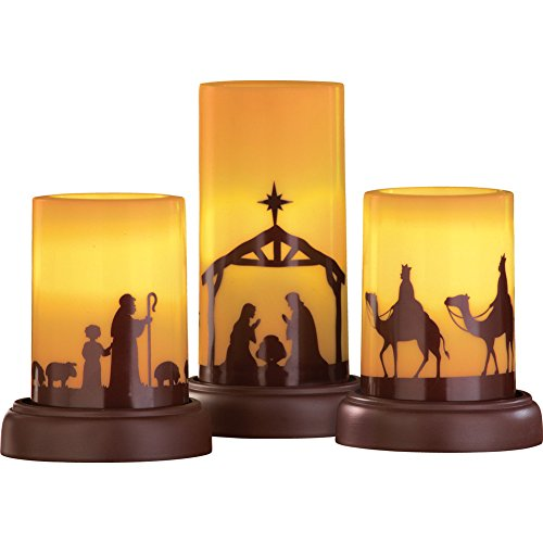 LED Flameless Christmas Nativity Scene Candles - Set of Three