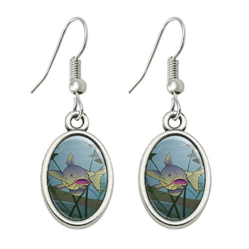 Catfish Swimming Costumes (Catfish Swimming in Water Novelty Dangling Drop Oval Charm Earrings)
