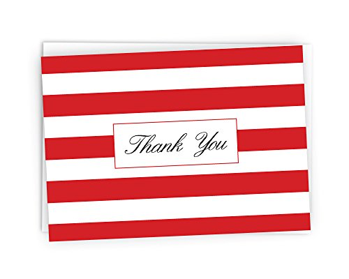 Striped Thank You Cards - 48 Cards & Envelopes (Red)