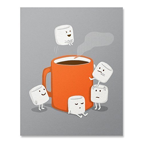 (Cute Marshmallow Hot Chocolate Cannonball Art Print Funny Coffee Swimming Camping Splash Food Illustration Poster Home Decor 8 x 10 inches)