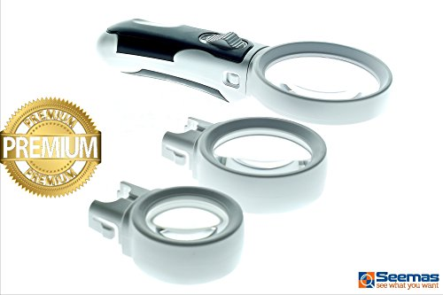 Seemas LED Light Handheld Magnifier Set 3 in 1. 3X, 10X and 16X - Reading Magnifier - Handheld Magnifying Glass - Low Vision Loupe