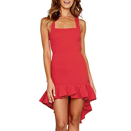 Sunhusing Women's Sleeveless Sling Cascading Ruffled Fishtail Dress Solid Color Knee-Length A-Line Sundress