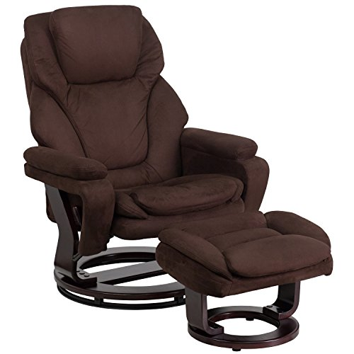 Flash Furniture Contemporary Brown Microfiber Recliner and Ottoman with Swiveling Mahogany Wood ()