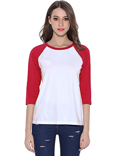 Red Raglan Sleeve - HUHOT Cotton Crew Neck 3/4 Sleeve Jersey Shirt Baseball Tee Raglan T-Shirts X-Large Red