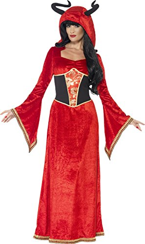 [Smiffy's Women's Demonic Queen Costume, Dress and Attached Horns, Legends of Evil, Halloween, Size 10-12,] (Alien Costume Woman)