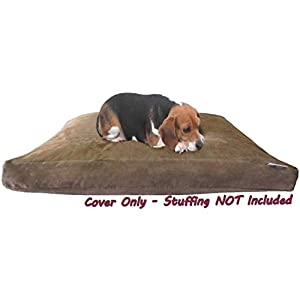 Dogbed4less DIY Pet Bed Pillow Brown MicroSuede Duvet Cover and Waterproof Internal Case for Dog and Cat at 35X20X4 Inch - Covers only