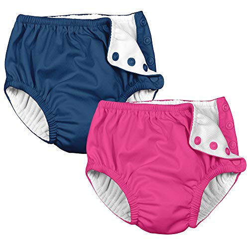 i play 2 Pack Girls Reusable Baby Swim Diapers Hot Pink and Navy Blue 12 Months