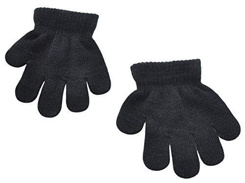 BaiX Toddler Boys and Girls Winter Knitted Writing Gloves, 1-3 Years Old, Black