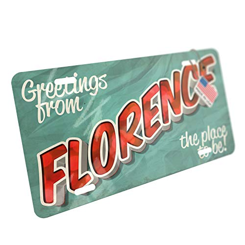 NEONBLOND Greetings from Florence, Vintage Postcard Aluminum License Plate ()