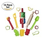 16 Piece Clay And Dough Modeling Tools Kit For Kids Play- Plastic Dough Rollers Molds Cutters Animal Shapes-Fun Modeling Clay Dough Playset For Children