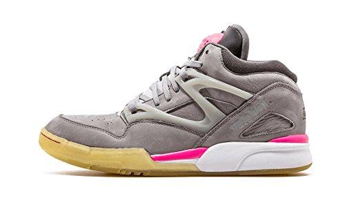 Reebok Pump Omni Lite Mens Leather Hi Top Sneakers (10, Grey/Pink/Glow in The Dark) -