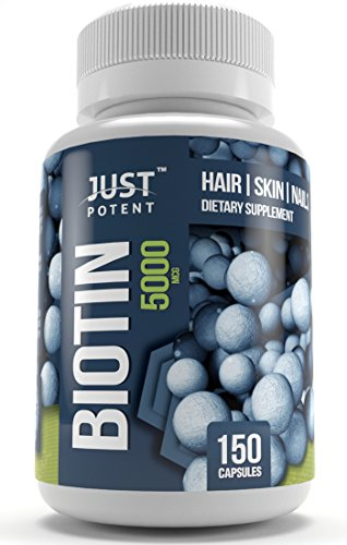 Biotin Supplement by Just Potent :: 5,000 MCG :: Hair Growth Support For Longer, Healthier, and Luscious Hair :: Radiant Skin :: Stronger, Longer, and Healthier Nails :: 150 Capsules :: 5-Month Supply
