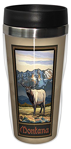 Tree-Free Greetings sg23165 Vintage Montana Elk by Paul A. Lanquist Stainless Steel Sip 'N Go Travel Tumbler, 16-Ounce, Multicolored