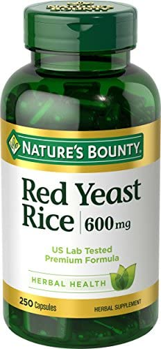 Nature s Bounty Red Yeast Rice Pills and Herbal Health Supplement, Dietary Additive, 600mg, 250 Capsules