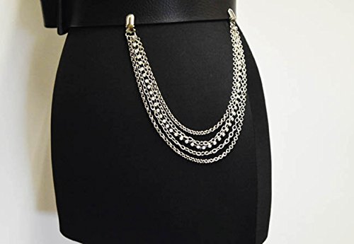 Chain Belt Silver Tone Link (NYFASHION101 Fashionable Sleek Five Strand Multi Style Link Jean Chain, Silver-Tone)