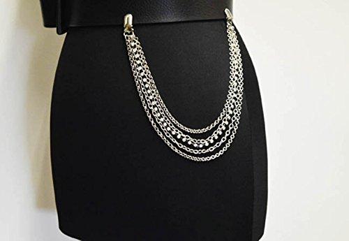 Chain Silver Tone Link Belt (NYFASHION101 Fashionable Sleek Five Strand Multi Style Link Jean Chain, Silver-Tone)