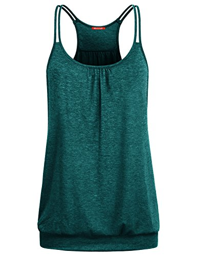 Blevonh Workout Shirts for Women, Ladies Sleeveless Scoop Neck Spaghetti Strap Banded Hem Knitted Cute Athletic Tank Tops Green M ()