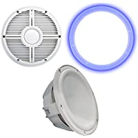 Wet Sounds Revo 12 Subwoofer, Grill, RGB LED Ring - White Subwoofer & White Closed Face XW Grill - 2 Ohm