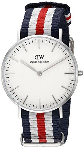 Daniel-Wellington-Reloj-para-mujer-con-correa-de-nylon-color-blanco-gris