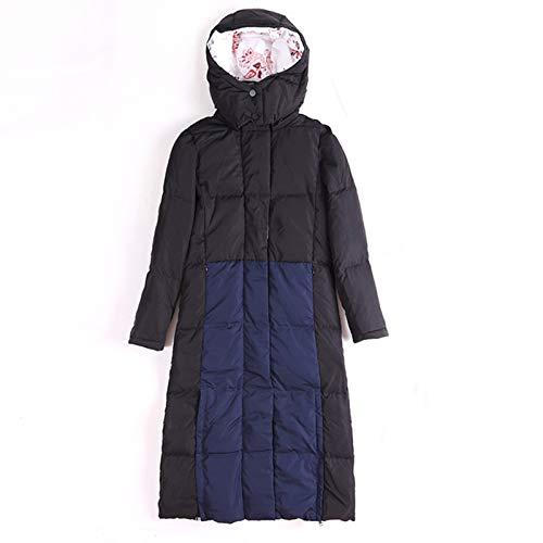 Stitching Color Long Down Jacket, Down Garment Outwear Long Cotton Coat Jacket Parka