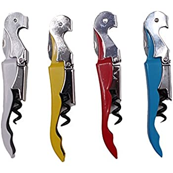Metallic Double Hinged Waiters Corkscrew with Foil Cutter 4 Pack (Color 1)