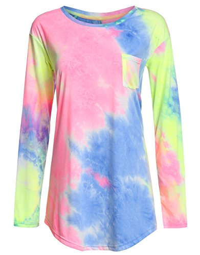 Womens Dye Tie (Romwe Swing Tunic Tops Long Sleeve Loose Fit Tie Dye Tee Tshirt Multicolor XL)
