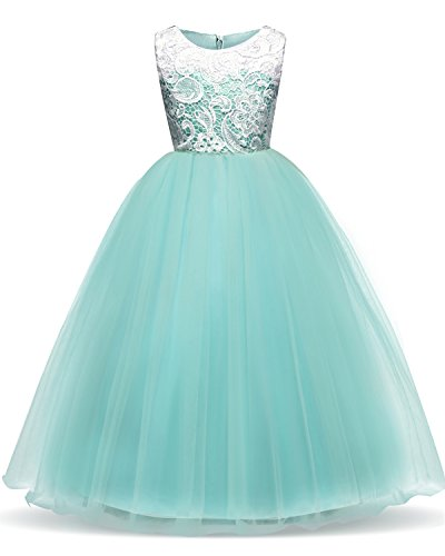 lle Flower Princess Party Maxi Dress Kids Prom Ball Gown Size 10-11 Years Green ()