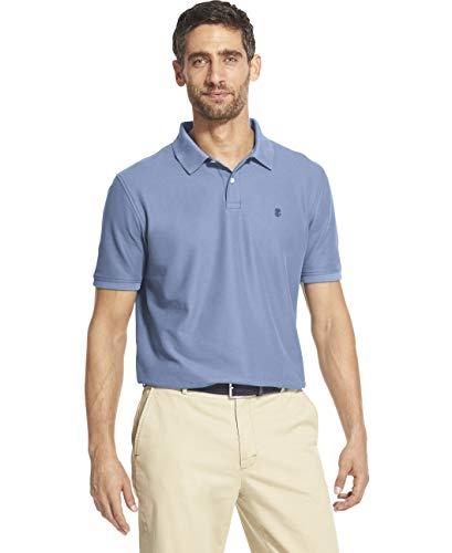 - IZOD Men's Slim Fit Advantage Performance Short Sleeve Solid Polo, Placid Blue, Large