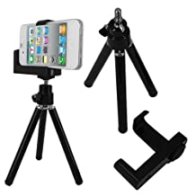 Skque Universal Mini Tripod Stand Camera Video Holder for Apple iPod Touch, iPhone 3G, 3GS, 4, 4S, Black (Fits Devices upto 58mm wide)