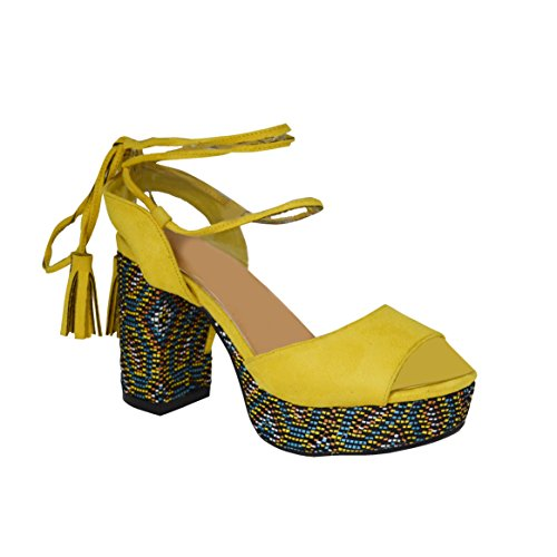Ciara New Womens Ladies Tribal Block Heel Lace Ankle Strap Summer Sandal Yellow