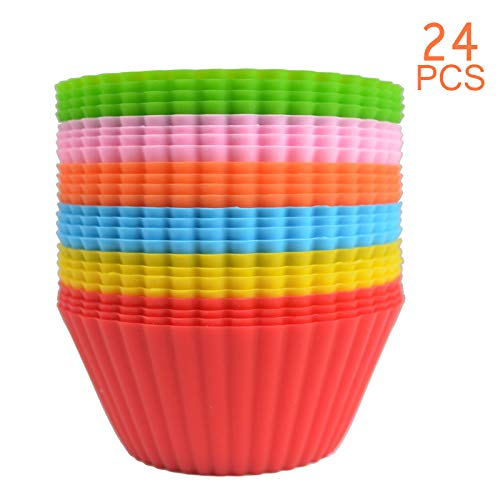 24 Pack Silicone Cupcake Baking Cups 24 Reusable Non-stick Cupcake Holder Liners Cup Molds Vibrant Muffin Molds 6 Colors, Pack of 24