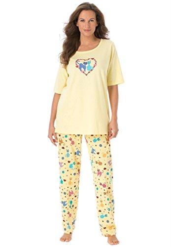Dreams & Co Women's Plus Size Cotton Knit Pajamas Banana Cats,3X