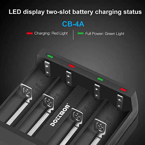 4 Pack of 3400mAh 3.7V 10A Battery for Flat Top LCLEBM Rechargeable Batteries with Storage Holder Case for for Video doorbell USB Fan LED Flashlight etc.
